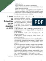 Matemática - Prova Resolvida - Anglo Resolve ITA 2006