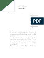 M223 Practise Problems 1 Test1