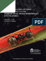 Hormigas Del Genero Dolichoderus Lund Formicidae Dolichoderinae en Colombia