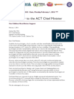 Open Letter to the ACT Chief Minister - Expert Panel Recommendation Must Be Implemented