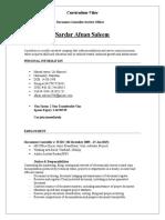 document Controller CV Format
