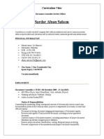 document Controller CV Format