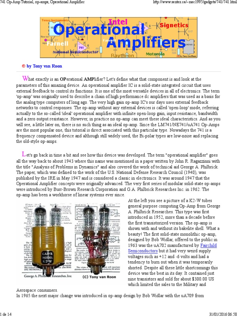 741 Op Amp Tutorial Operational Amplifier National Lm386 Audio Power Datasheet For Battery Operation