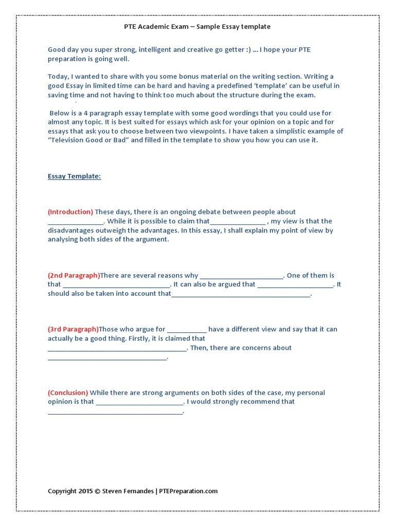 how to write essay in pte exam