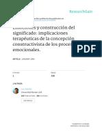 Botella, L. (1993). Emociones y Construcciones de Signigicado. Implicaciones Terapéuticas La Concepcion Constructivista de Los Procesos Emocionales