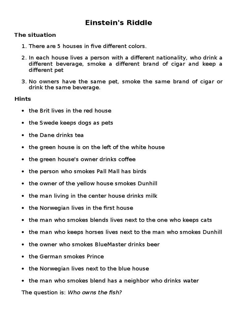 photo regarding Einstein's Riddle Printable named Einstein Riddle worksheet Bebida Amarillo