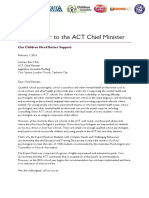 Open Letter to ACT Chief Minister