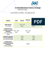 Horarios Picyt Ene- Abril 2016
