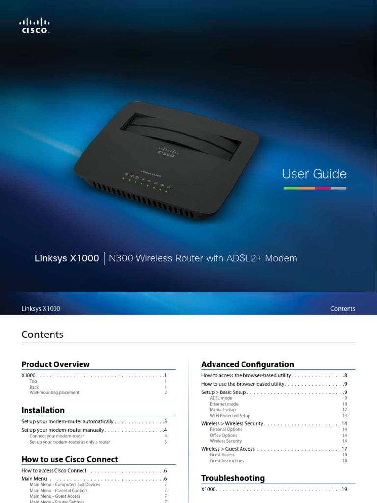 Linksys Wireless Adsl Modem Router x1000 User Manual | Wi Fi | Computer  Network