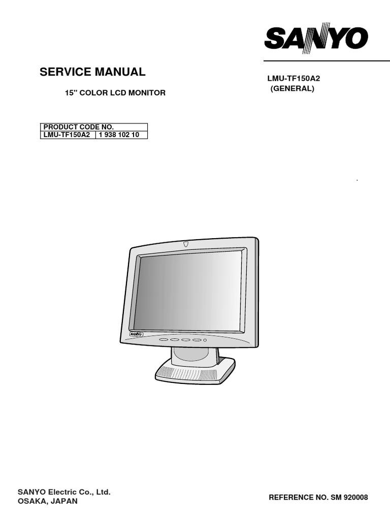 Sanyo Lmu Tf150a2 Service Manual Usb Computer Monitor Wiring Harness Color Code