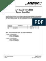 Bose 1800 - 1801 Power Amp Service Manual