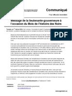 01 - Message de la lieutenante-gouverneure à l'occasion du Mois de l'histoire des Noirs