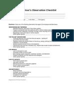 Supervisor's Observation Checklist