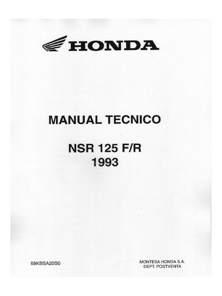 Manual de mantenimiento Honda NSR 125 F-R 1993 (Castellano