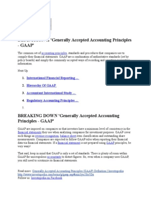 Gaap | Generally Accepted Accounting Principles (United