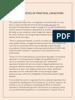 Characteristics of Practical Capacitors
