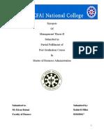 Synopsis Thesis II- Rakhi R Pillai
