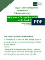 Tema 5. Los Orígenes de La Prosa Castellana. 15-16