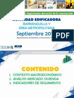 ACTIVIDAD EDIFICADORA - BARRANQUILLA Y ÁREA METROPOLITANA, Septiembre 2015