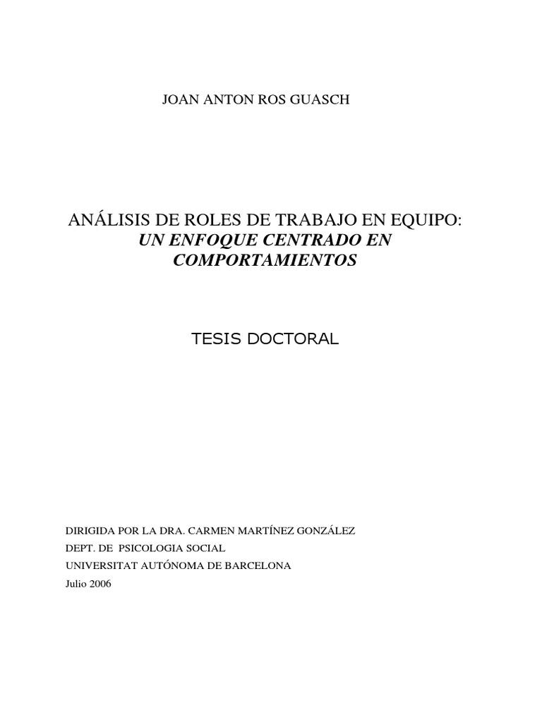 ANÁLISIS DE ROLES DE TRABAJO EN EQUIPO