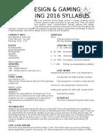 syllabus design gaming