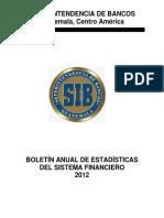 Boletín Anual de Estadísticas Del 2012