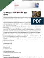 CM - Socialistas com mais de 500 faltas
