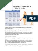 La Dieta de La Doctora Cynthia Sass Te Hará Perder 7 Kilos en 15 Días