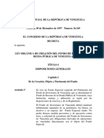 Ley Orgánica de Creación Del Fondo de Rescate de La Deuda Publica de Venezuela