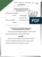 Government's Memo Regarding Sentencing of Monica Conyers February 16, 2010