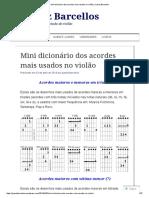 Mini Dicionár Dos Acordes Mais Usados No Violão _ Juarez Barcellos