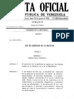 19820823, Ley de Ejercicio de La Medicina