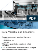 Lecture 3 Variables,Constants,Calculations EDITED
