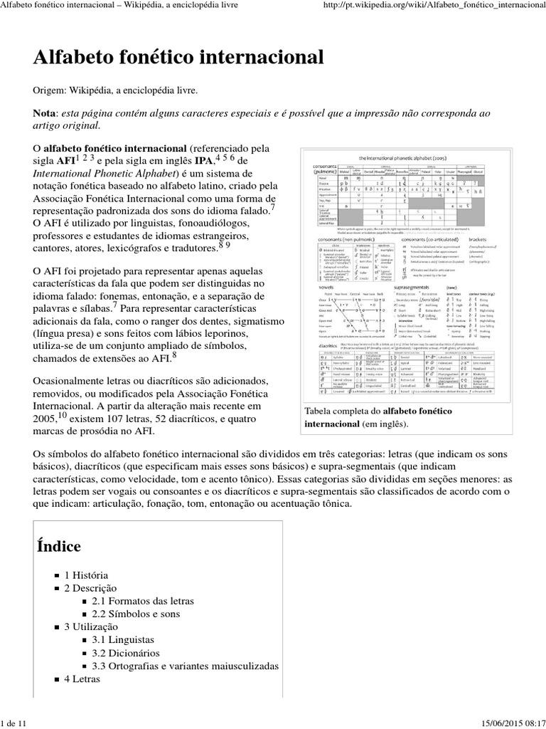 Alfabeto Fonético Internacional – Wikipédia, A Enciclopédia