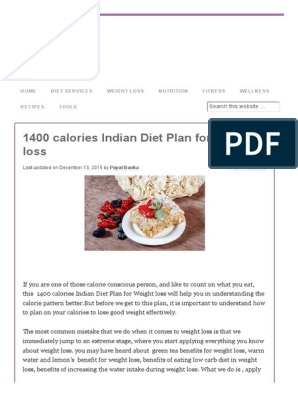 1400 Calories Indian Diet Plan for Weight Loss | Dieting
