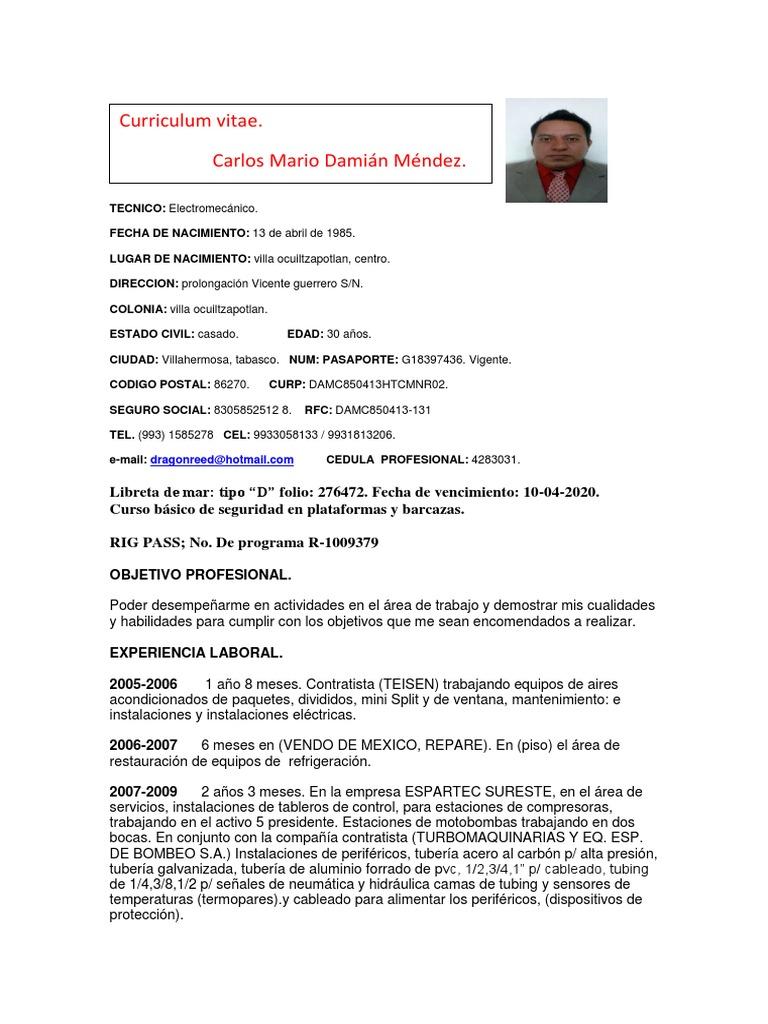 Cv Carlos Mario Damián Méndez