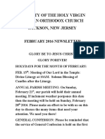 Nativity of the Holy Virgin Church - Newsletter - February, 2016