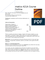 mathematics 421a course outline