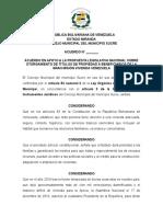 Acuerdo en Apoyo a iniciativa de la propiedad en GMVV