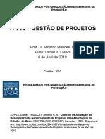 Apresentação Artigo Critérios de Avaliação de Desempenho Gerenciamento Projetos