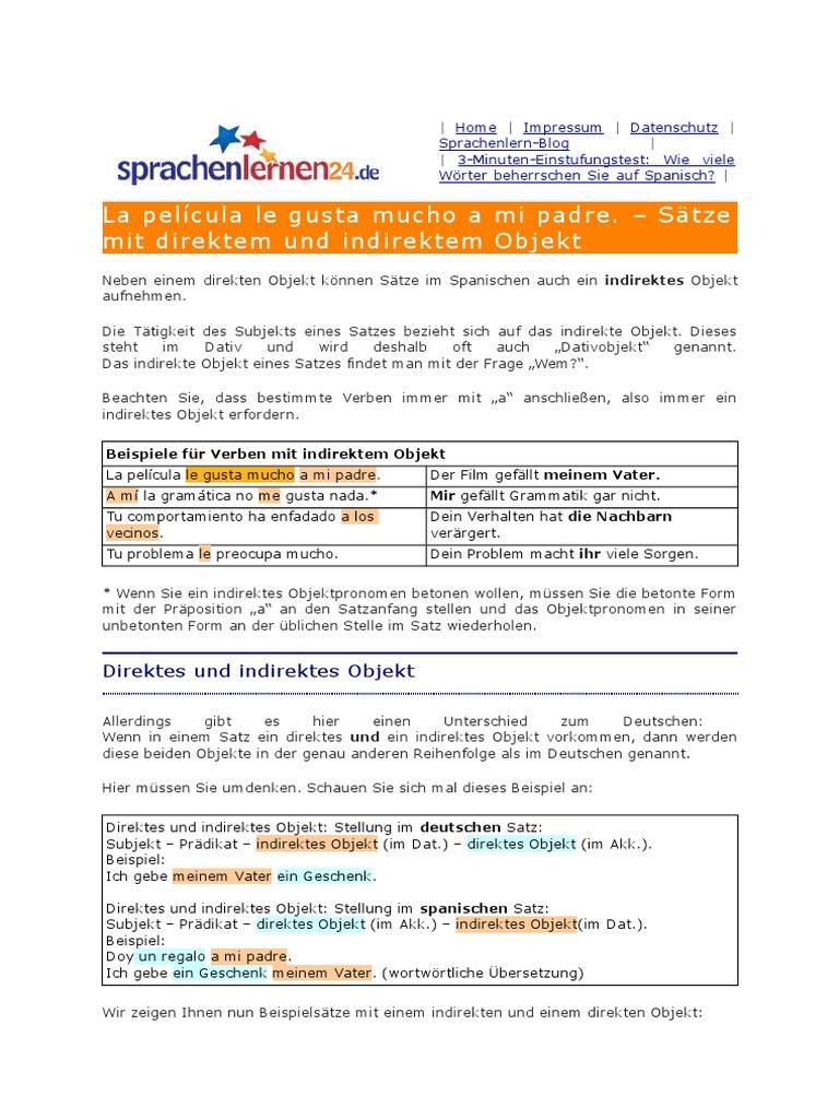 Spanisch Deutsch Direktes Und Indirektes Objekt