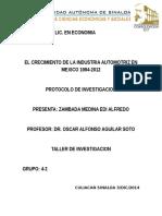 Protocolo El Crecimiento de La Industria Automotriz en Mexico 1994-2012