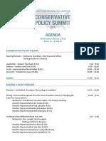 Conservative Policy Summit Agenda