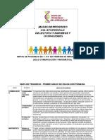 MAPA DE PROGRESO DE 1° A 6° GRADO DE MARZO A DICIEMBRE (SOLO COMUNICACIÓN Y MATEMÁTICA)
