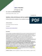 Análisis Crítico Discurso de Los Académicos