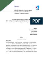 Informe Servicio Comunitario - Ernesto j Rojas Peña - Di - Agosto 2015