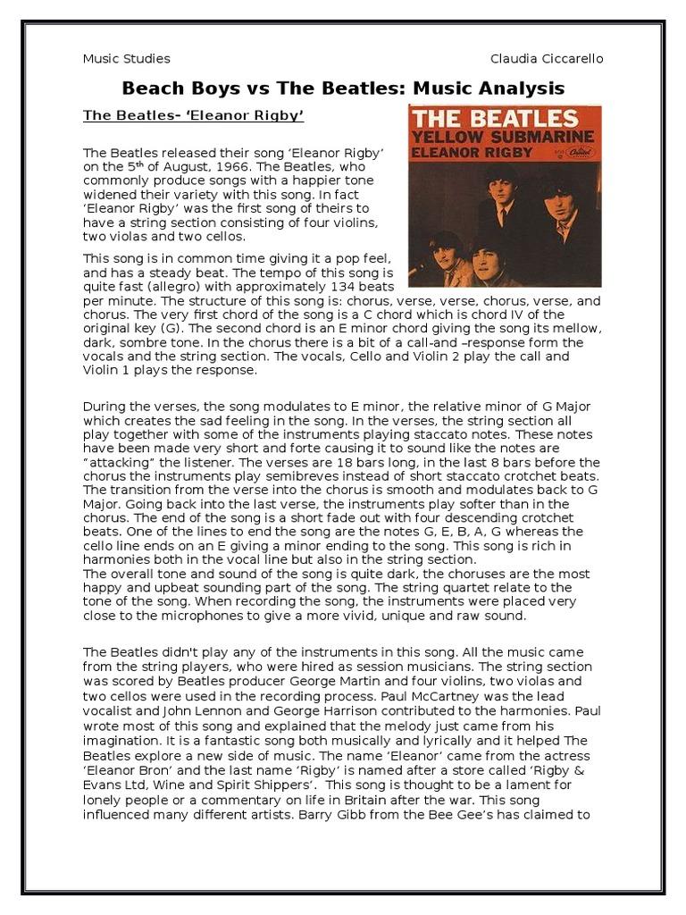 Beach Boys Vs Beatles Essay Song Structure Bass Guitar