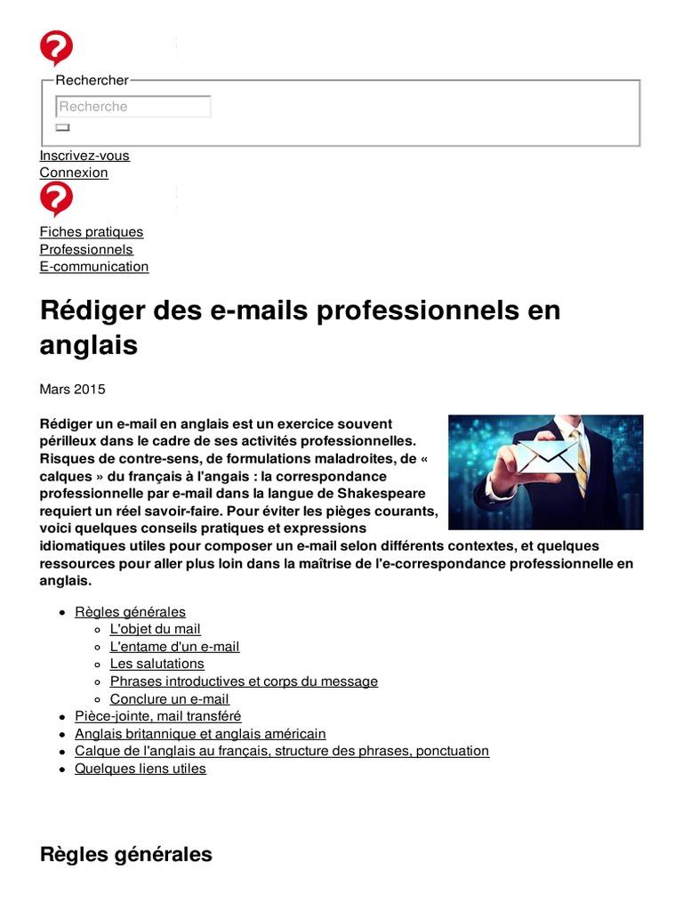 Rediger Des E Mails Professionnels En Anglais