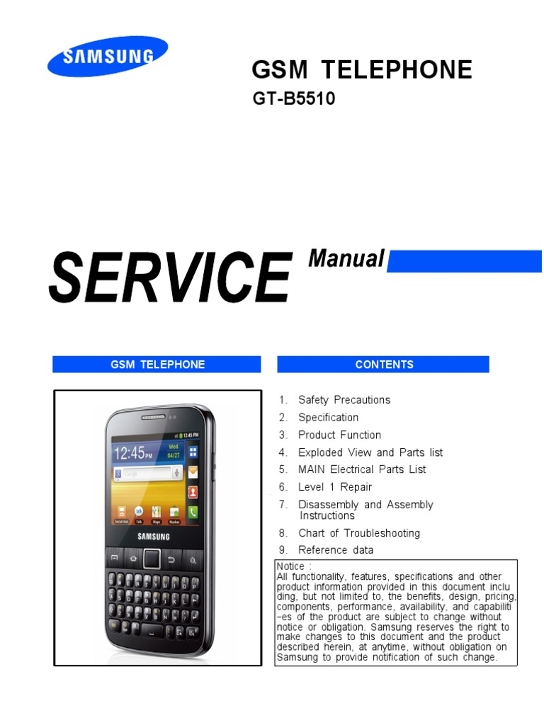 Samsung Gt-b5510 Service Manual | Electrostatic Discharge |  Telecommunications