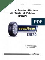Lista de Precios Cauchos Goodyear Venezuela Enero 2016 - Notilogía